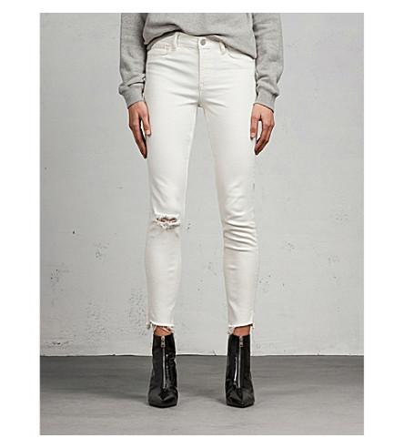 ALLSAINTS Grace distressed skinny mid-rise jeans (Chalk+white