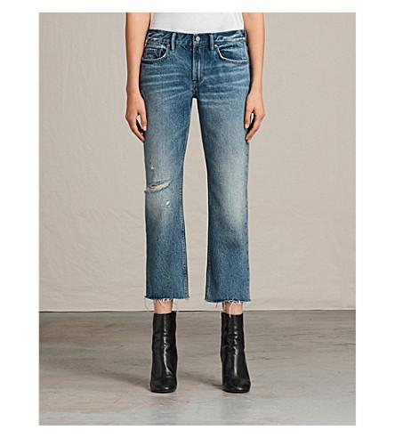 ALLSAINTS Serene frayed-hem cropped mid-rise jeans (Mid+indigo+blu