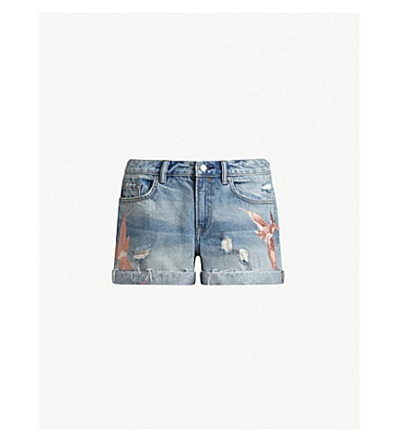 ALLSAINTS Pam Birds embroidered denim shorts (Indigo+blue