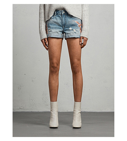 ALLSAINTS Pam Birds embroidered denim shorts (Indigo+blue