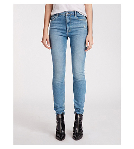 ALLSAINTS 高跷超紧身高腰牛仔裤 (中 + 靛蓝 + 蓝光)