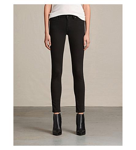 ALLSAINTS 桅杆紧身低腰牛仔裤 (喷气 + 黑色