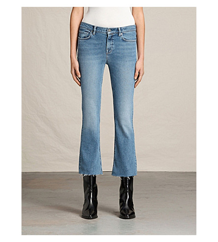ALLSAINTS Zoe slim-fit cropped bootcut jeans (Light+indigo+b