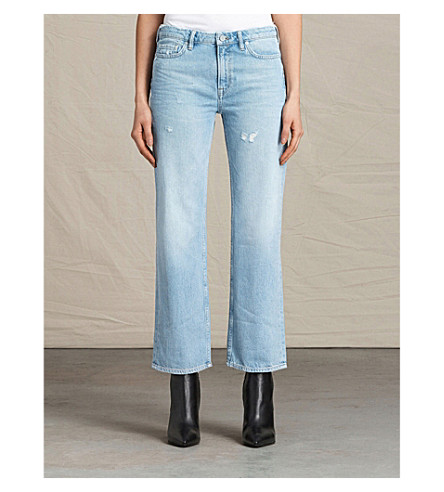 ALLSAINTS Belle cropped mid-rise flared jeans (Light+indigo+b