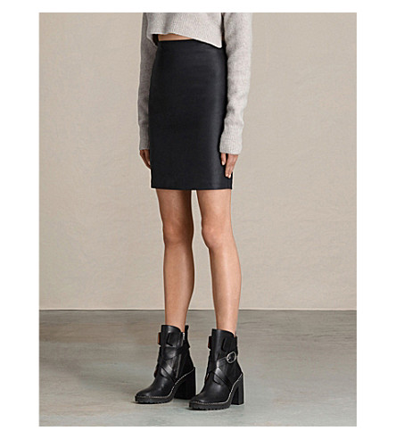 ALLSAINTS 金属牛仔铅笔裙 (黑色