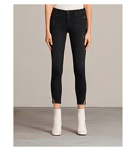 ALLSAINTS Mast skinny low-rise jeans (Washed+black