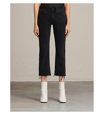 ALLSAINTS Serene frayed-hem cropped mid-rise jeans (Washed+black