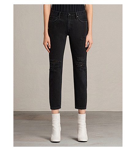 ALLSAINTS Muse washed black skinny low-rise jeans (Washed+black