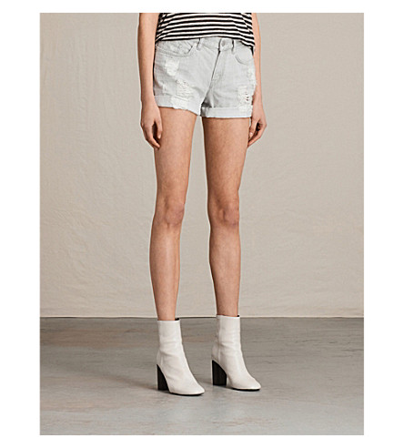 ALLSAINTS Pam denim shorts (Pale+grey