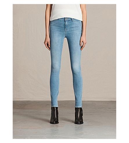 ALLSAINTS Grace skinny mid-rise jeans (Light+indigo+b