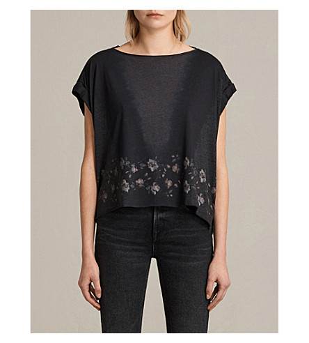 ALLSAINTS Loire cotton-blend T-shirt (Dark+night+blu