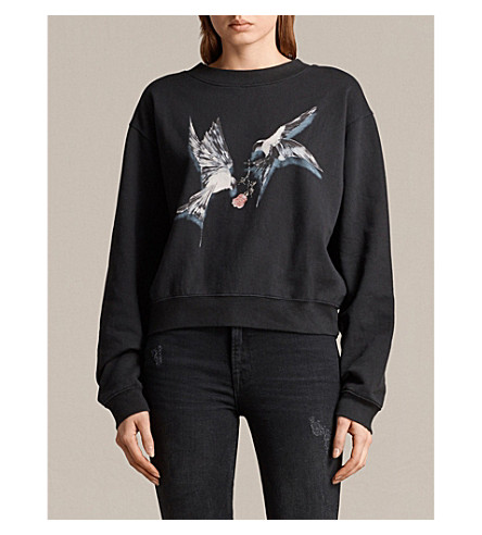 ALLSAINTS Lovers Tia cotton-jersey sweatshirt (Black