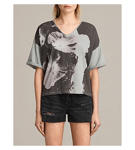 ALLSAINTS Reality Ada floral-print jersey T-shirt (Light+grey+mar