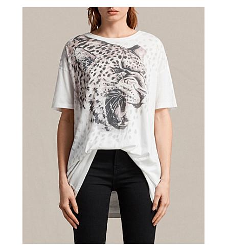 ALLSAINTS Cori sabre-print cotton-jersey T-shirt (Chalk+white