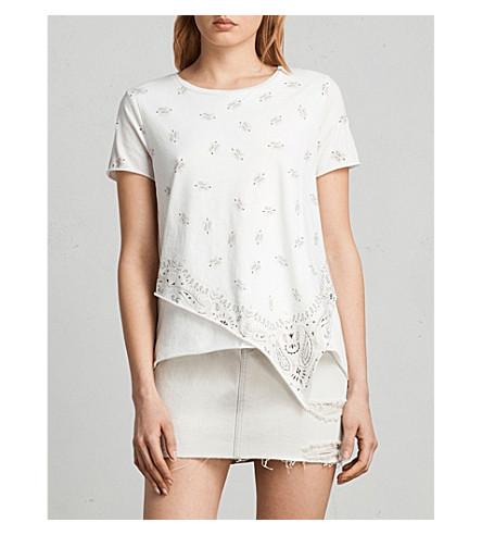 ALLSAINTS Daisy asymmetric cotton-jersey T-shirt (Chalk+white