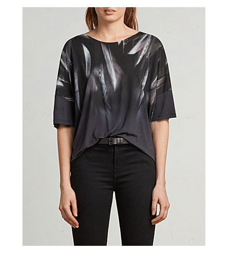 ALLSAINTS Feather print woven top (Washed+black
