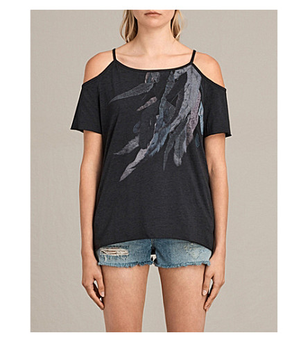 ALLSAINTS Tyra cotton-blend T-shirt (Dark+night+blu