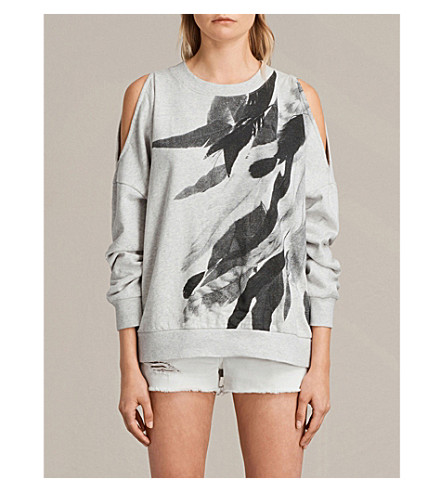 ALLSAINTS Wing Unai cold-shoulder cotton-jersey sweatshirt (Light+grey+mar
