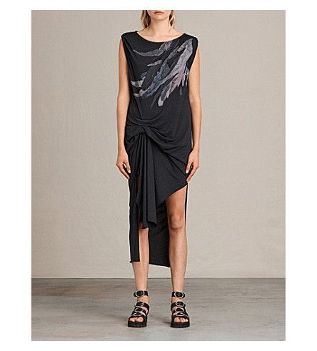 ALLSAINTS Riviera Flight feather-print jersey dress (Dark+night+blu