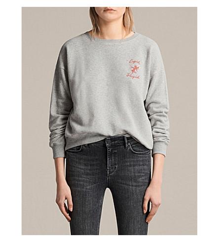 ALLSAINTS Cupid Laurel cotton-jersey sweatshirt (Grey+marl