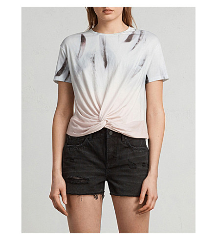 ALLSAINTS Plume Carme printed cotton-blend T-shirt (Chalk+white