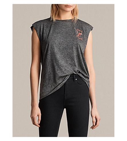 ALLSAINTS Harlie cupid-print cotton-jersey T-shirt (Ash+black
