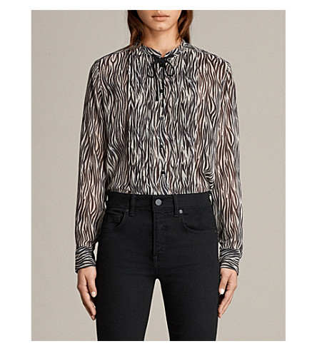 ALLSAINTS Cada crepe shirt (Oyster+white/b