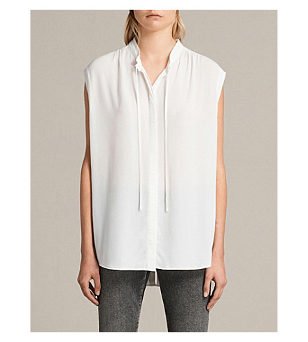 ALLSAINTS Raya sleeveless woven shirt (Chalk+white