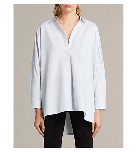 ALLSAINTS Valdes oversized cotton shirt (Seafoam+blue
