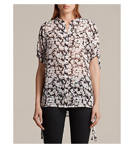 ALLSAINTS Arlesa Magnolita printed crepe shirt (Dusty+pink