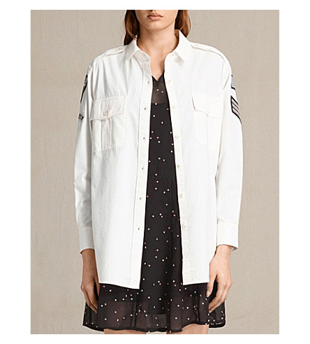 ALLSAINTS Patch Military cotton shirt (Oyster+white