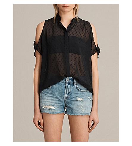 ALLSAINTS Irie cold-shoulder chiffon shirt (Black