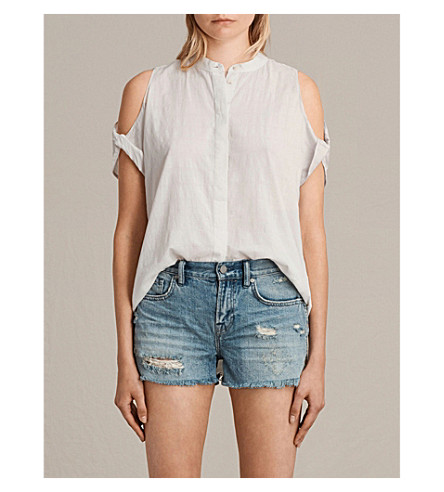 ALLSAINTS Elsa cold-shoulder cotton shirt (Chalk+white