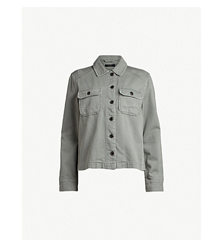 ALLSAINTS Jemma distressed cotton-twill jacket (Khaki+green