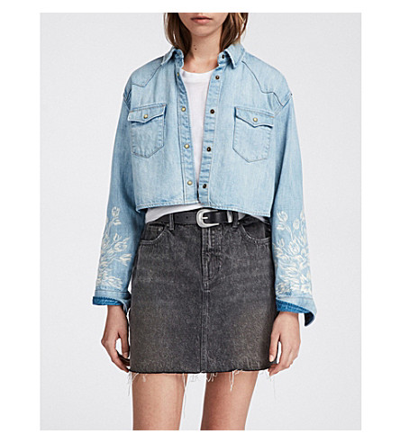 ALLSAINTS Flora Cannon denim shirt (Light+indigo+b