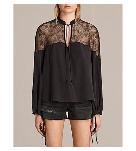 ALLSAINTS Laya silk shirt (Black