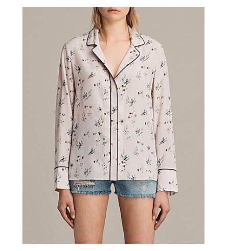 ALLSAINTS Leon Quilla silk shirt (Pink