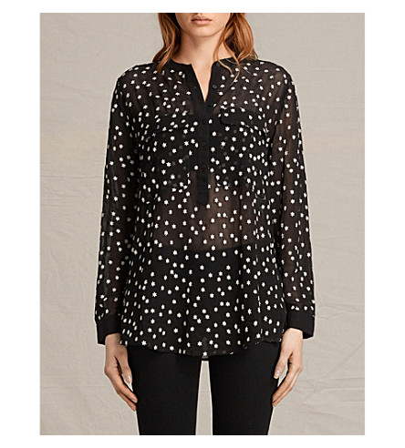 ALLSAINTS Picolina star-embroidered chiffon shirt (Black