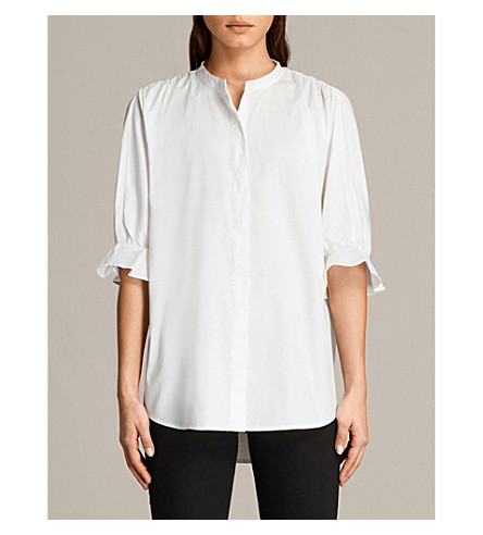 ALLSAINTS Joanna striped cotton shirt (Chalk+white
