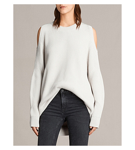 ALLSAINTS Lizzie cold-shoulder knitted jumper (Grain+white