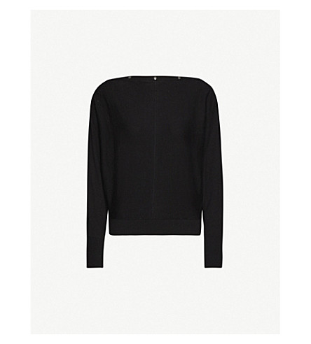 ALLSAINTS Elle button-detail cotton jumper (Black
