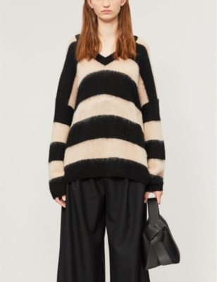 Lou striped relaxed-fit wool-blend jumper