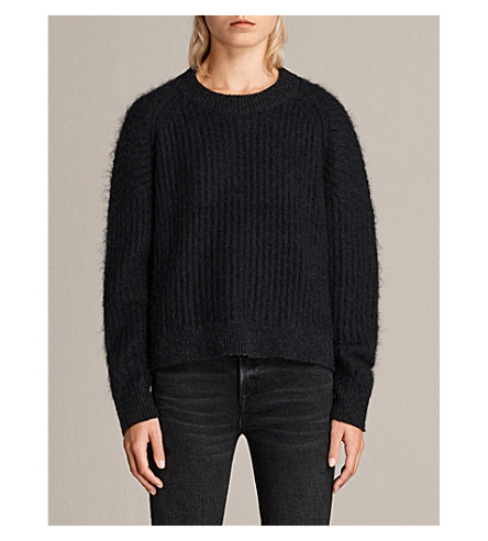 ALLSAINTS Ade cropped knitted jumper (Black