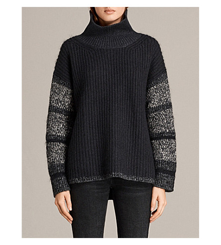 ALLSAINTS Keats knitted cotton-blend jumper (Black/grey+mix