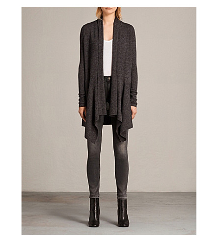 ALLSAINTS Olivo knitted waterfall cardigan (Cinder+black+m