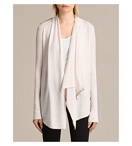 ALLSAINTS Drina draped merino wool cardigan (Almond+pink+ma