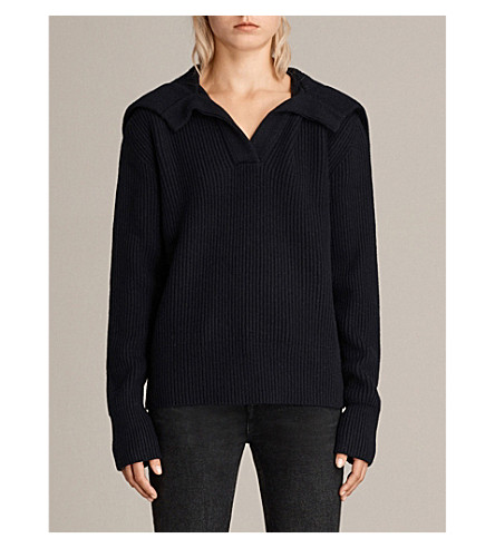 ALLSAINTS Codie knitted jumper (Ink+blue