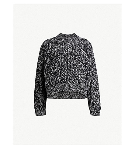ALLSAINTS Cropped knit cotton jumper (Black/white