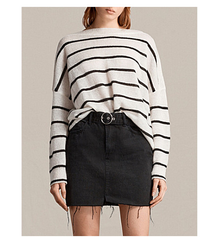 ALLSAINTS Misty striped knitted jumper (Chalk+white/bl