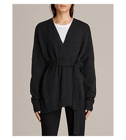 ALLSAINTS Inaya 羊绒开衫 (炭渣 + 黑 + 米